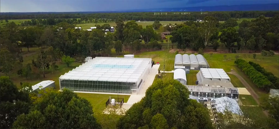 Aerial view of the NVPCC glasshouse on Hawkesbury campus